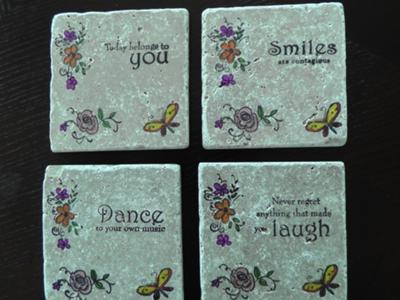 Inspirational message tumbled stone coasters