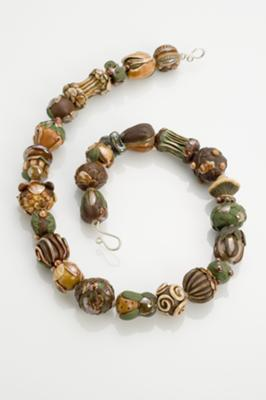 Autumn foliage themed hand-formed beads, strung on silk, hand-formed sterling clasp with matching earrings