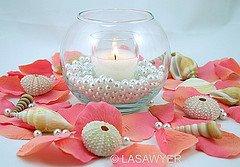 beach theme weddings, wedding centerpiece ideas, seashell wedding centerpiece ideas